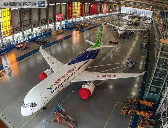 A view of China's homegrown C919 passenger jets at a base in Pudong, Shanghai on Feb. 8, 2019.  (Photo/CCTV)